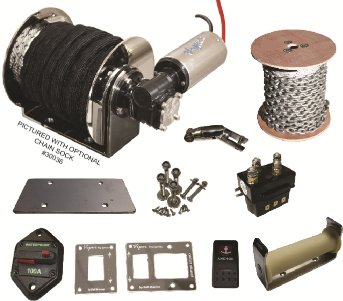 Viper Pro Series II 1000 Electric Drum Anchor Winch bundle