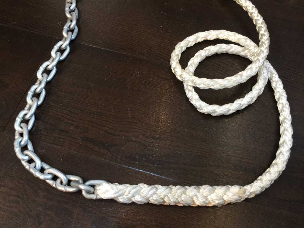 100m x 12mm Nylon 8-plait and 10m x 6mm Short link chain
