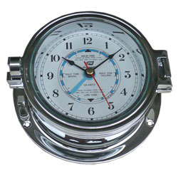 "Plastimo 4 1/2"" Time and Tide Clock Chrome"