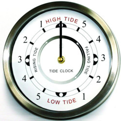 Tide Clock. 20cm diameter. Stainless steel surround.