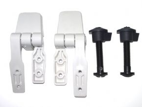 Hinge set fits Jabsco's compact size toilets
